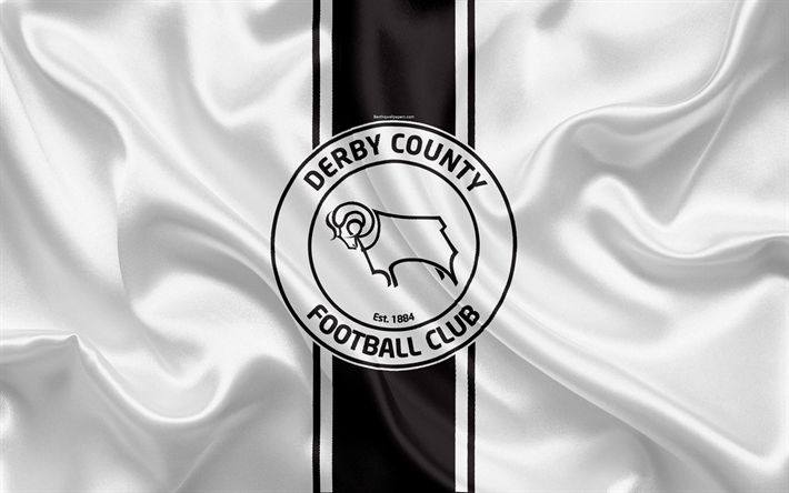 Download wallpapers Derby County FC, white silk flag, emblem, logo, 4k, Derby, UK, English football club, Football League Championship, Second League, football