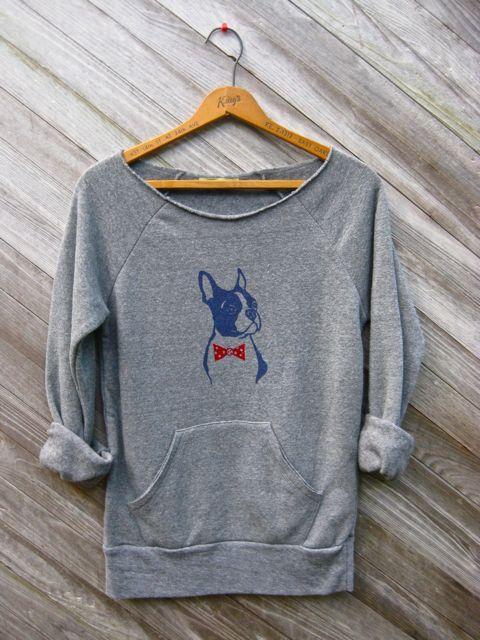 you handsome devil Boston Terrier Sweatshirt, Bowtie Dog Sweater, Grey Sweater, S,M,L,XL. $36.00, via Etsy.