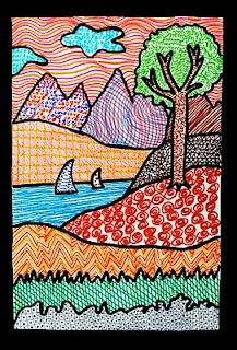 Gorgeous landscape:  teaching about different types of lines