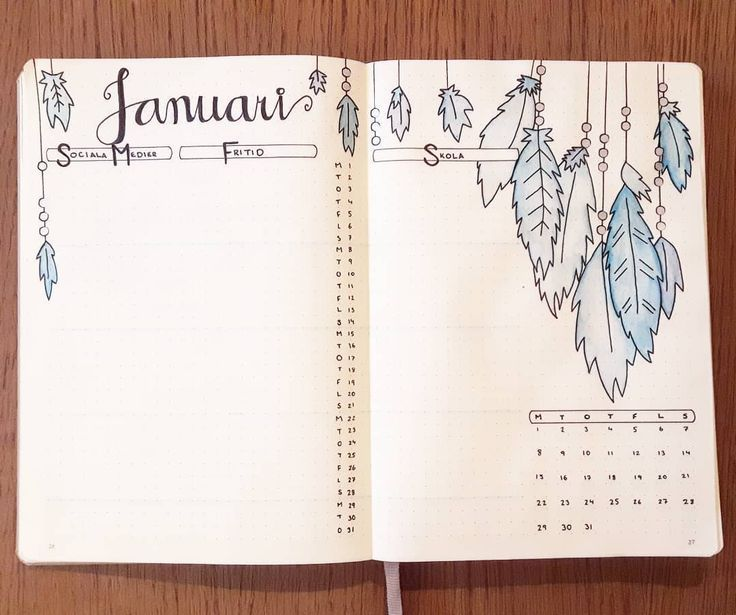 Bullet journal monthly layout, feather drawings. @isoldeineveryway
