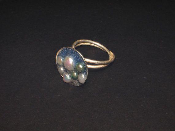 Dubbele ring van zilver met parels ingezet in door JackysJewels