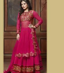 Buy PINK embroidered net and GEORGETTE semi stitched salwar with dupatta anarkali-salwar-kameez online
