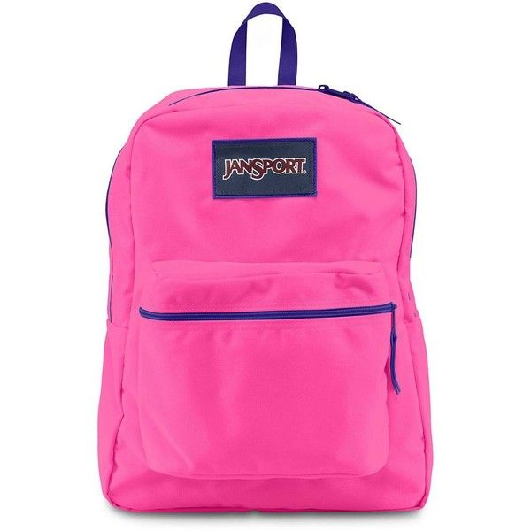 JanSport Superbreak Backpack, Pink ($36) ❤ liked on Polyvore featuring bags, backpacks, pink, jansport backpack, pink rucksack, jansport daypack, knapsack bags and rucksack bag