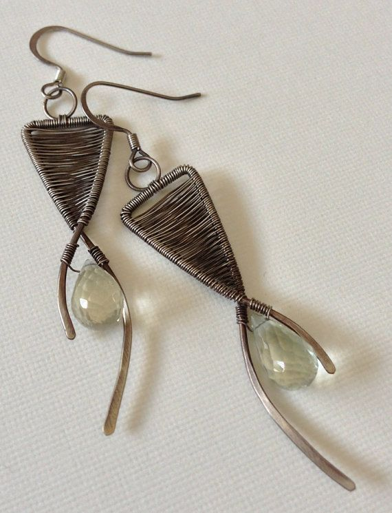 Green amethyst beads with silver wire wrapped by anikojewelry, $48.00