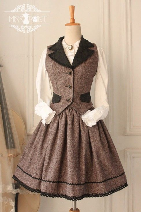 Miss Point ~Earl Grey Tea~ Vintage College School Style Woolen Lolita Vest and Skirt Set. $67.99. Can be tailored