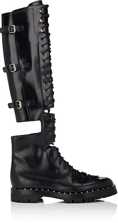 a64f302e747 Valentino Garavani Women s Soul Rockstud Leather Over-The-Knee Combat Boots