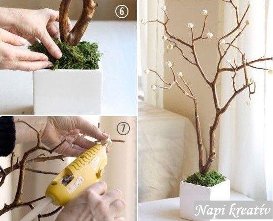 Napi kreatív : Egy faág és néhány pici papírvirág | Egy az egyben