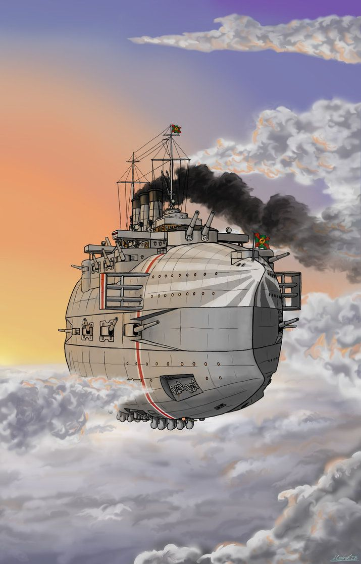 Airbattleship In Flight By Blackadder02 Retro Futurism