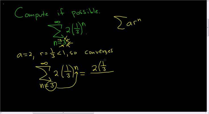 Computing the Sum of an Infinite Geometric Series: Sum( 2*(1/3)^n, n = 3...