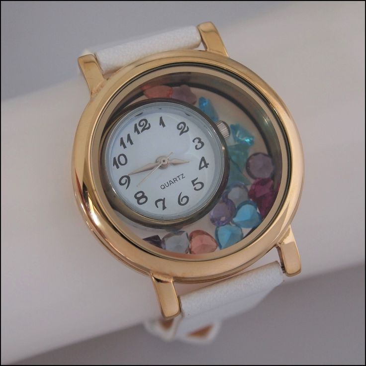 Living Locket Floating Watch - Gold & White