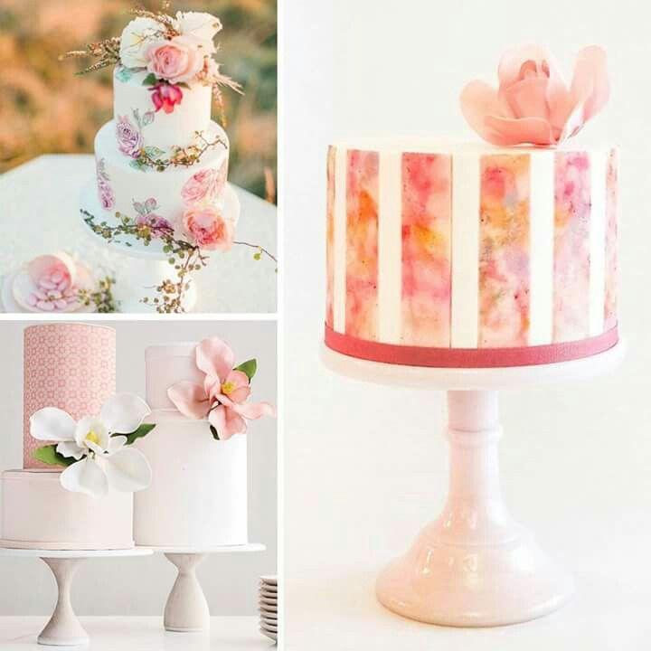 Romantizmin simgesi pembe renkli, modern düğün pastaları gelinlerimize ilham verecek!
