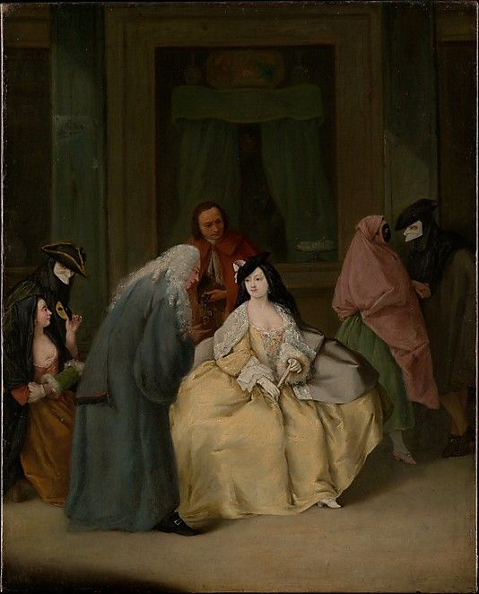 The Meeting  Pietro Longhi (Pietro Falca)  (Italian, Venice 1701–1785 Venice)    Date:      probably 1746  Medium:      Oil on canvas  Dimensions:      24 x 19 1/2 in. (61 x 49.5 cm)  Classification:      Paintings  Credit Line:      Gift of Samuel H. Kress, 1936  Accession Number:      36.16
