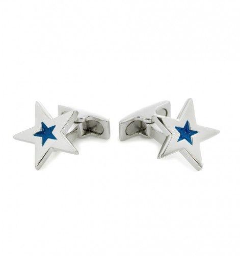 Miss Links 'Kimberley' blue star cufflinks - enamel and sterling silver