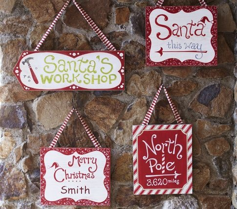 Pottery Barn Kids signs: Santa Signs, Christmas Crafts, Christmas Signs, Pole Signs, Christmas Decor, North Pole, Wooden Signs, Pottery Barns, Diy Christmas