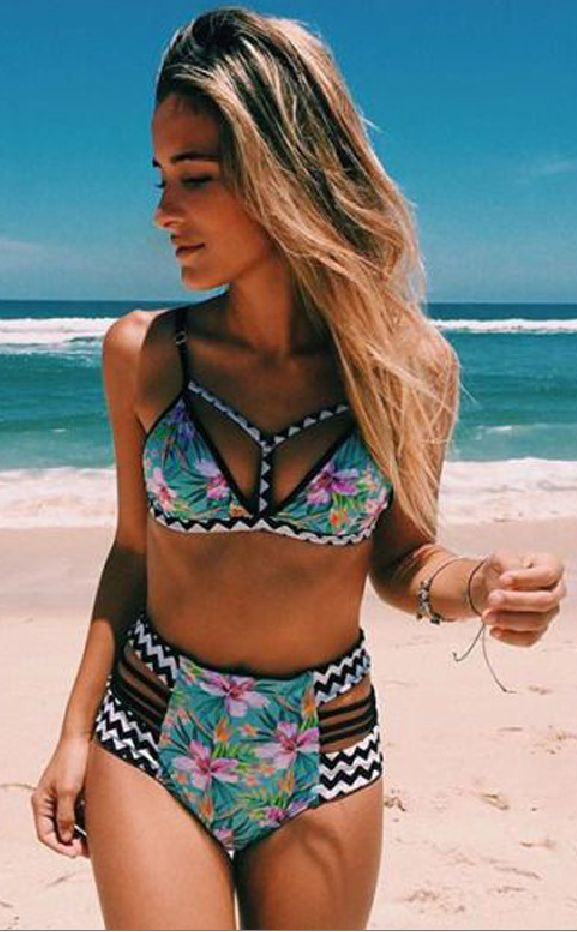 Lovable Floral Aqua High Waist Bikini Sets and super sexy, this bikini is a definite head turner! Top has a Y string at front, low cut. Bottoms have strappy high waist design. Details: - Aqua floral p