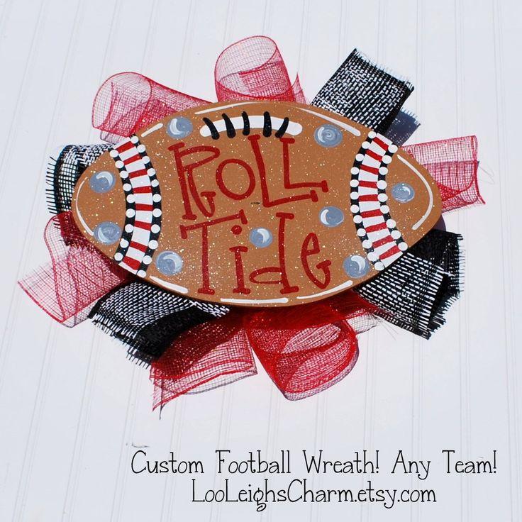 Football Wreath, Door Hanger: Alabama Football, Wooden Football Door Decoration, Roll Tide Decor, Alabama Crimson Tide