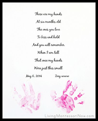 Handprint project that can be easily adapted for a variety of ages. Post includes free editable handprint poem plus tips for getting a baby's handprints.