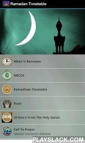 Ramadan Timetable  Android App - playslack.com , On Behalf and on the request of our work colleagues and friends, a Ramadan Timetable. Simple and no nonsense.1.The GPS when activated (Tap your finger on the compass) - press on the blue arrow at the top of the map, this will position the blue arrow at your location in the world. Look at the map and the red pin identifying Mecca. You will then be able to see your position in relation guiding you to turn in that direction for prayer.2.Tap on…
