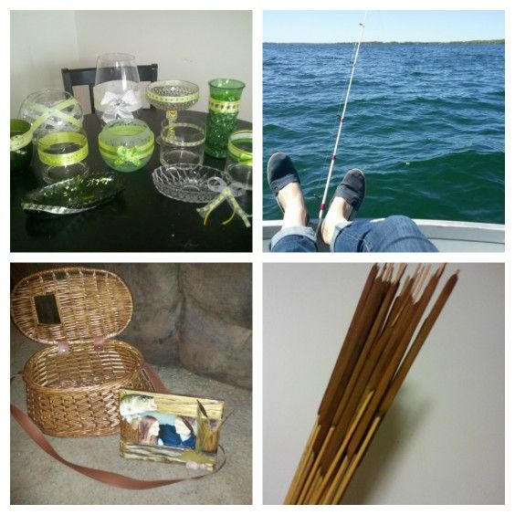 A fishing themed with a fish bowl candy buffet, vintage tackle box card basket, and cattail center pieces.