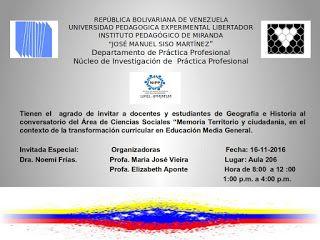 Noticias UPEL Miranda: Conversatorio: Memoria Territorio y Ciudadanía, en...