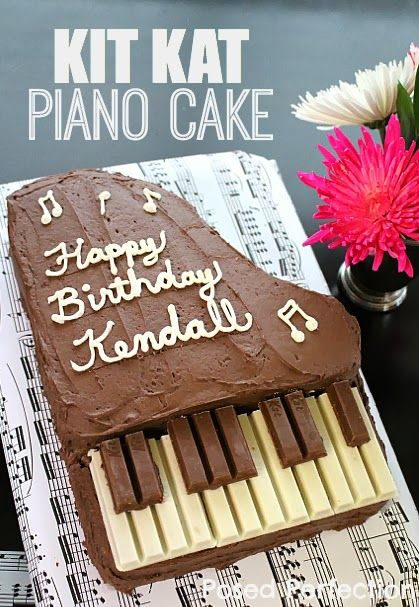 Posed Perfection: A Music Birthday Party for My Tween  a cake in the shape of a piano with brown and white kit kat candy bars for the keys