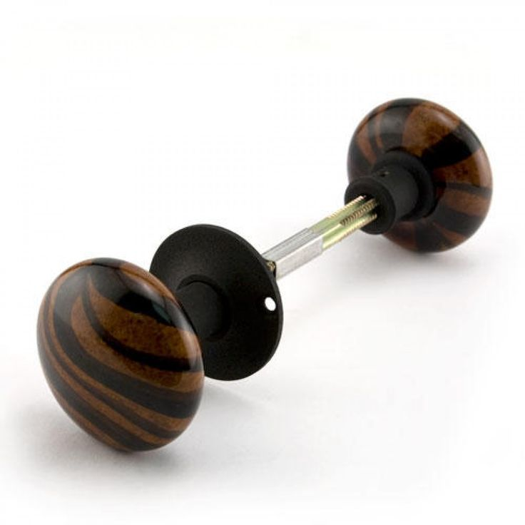 Striped Brown Porcelain Doorknobs for Rim Locks-Iron Shanks-Black Powder Coat