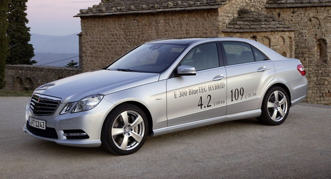 New Mercedes E300 BlueTEC Hybrid is Most Fuel Efficient E-Class to be Sold in the UK  [...priced from £39,645.00 OTR while the Estate version starts at £41,435.00 OTR, ... 65.7 mpg UK (54.7 mpg US... 2.1-liter four-cylinder diesel engine developing 201hp (204PS) and 500Nm (369 lb-ft) of torque to a 27hp (20kW) electric motor mounted within the 7G-Tronic Plus automatic transmission... 0 to 62 mph (100km/h) in 7.5-seconds (Estate: 7.8-seconds) before reaching a top speed of 150 mph (144 mph).
