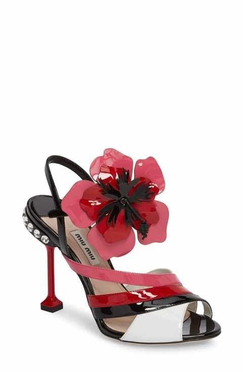60252862a1d7 Miu Miu Flower Appliqué Sandal (Women)
