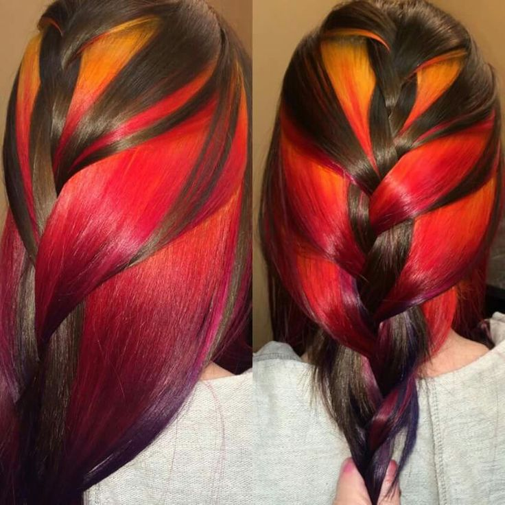 Brown red yellow braided dyed hair color