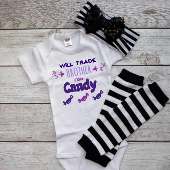 Newborn Halloween Outfit- Infant Girl Halloween- Funny  Halloween-  Baby Halloween Costume- Will trade brother for cand- Halloween leg warm by DaliceDesigns on Etsy