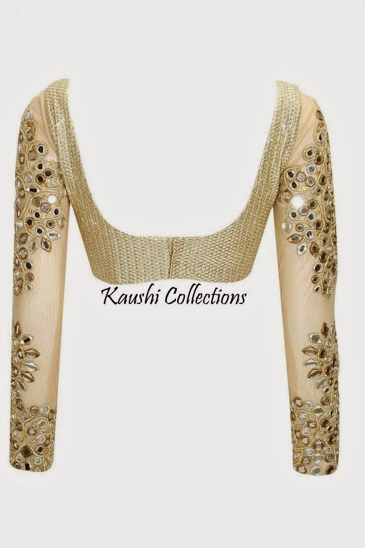 Beige golden brocade blouse blouse designs blouse designs for sarees - Kaushi Collections Mirror Work Sarees Blouses