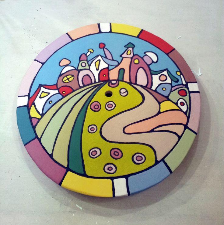 base per orologlio in #ceramica tecnica #cuerda_seca by  Elonora @Eleonora lavelli   #pottery #watch #miaterracotta