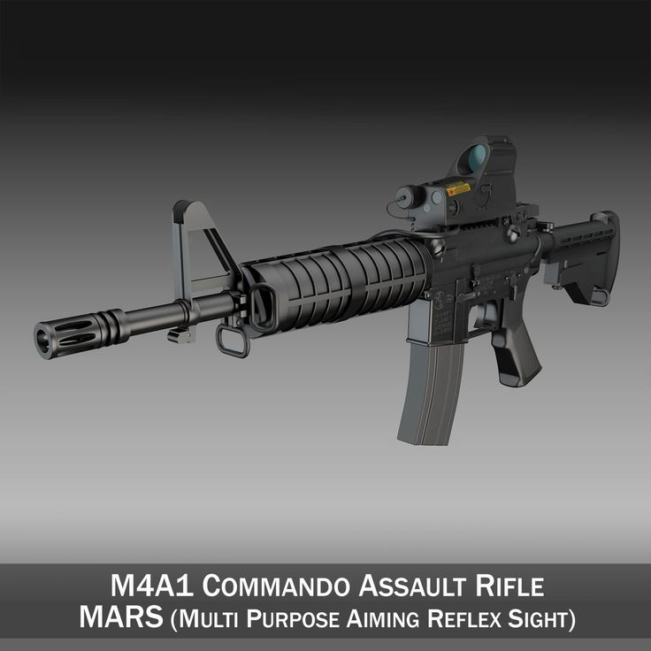 Colt M4A1 Commando MARS 3D Model- Originally modelled in cinema4D. Detailed enough for close-up renders. The zip-file contains bodypaint textures and standard materials.    Features:  - Inside scene: -model - 18 textures and 3 bumpmaps  - All materials, bodypaint-textures and textures are included.  - No cleaning up necessary, just drop your models into the scene and start rendering.  - No special plugin needed to open scene.    - Phong shading interpolation / Smoothing - 35°    - NOTE - In…