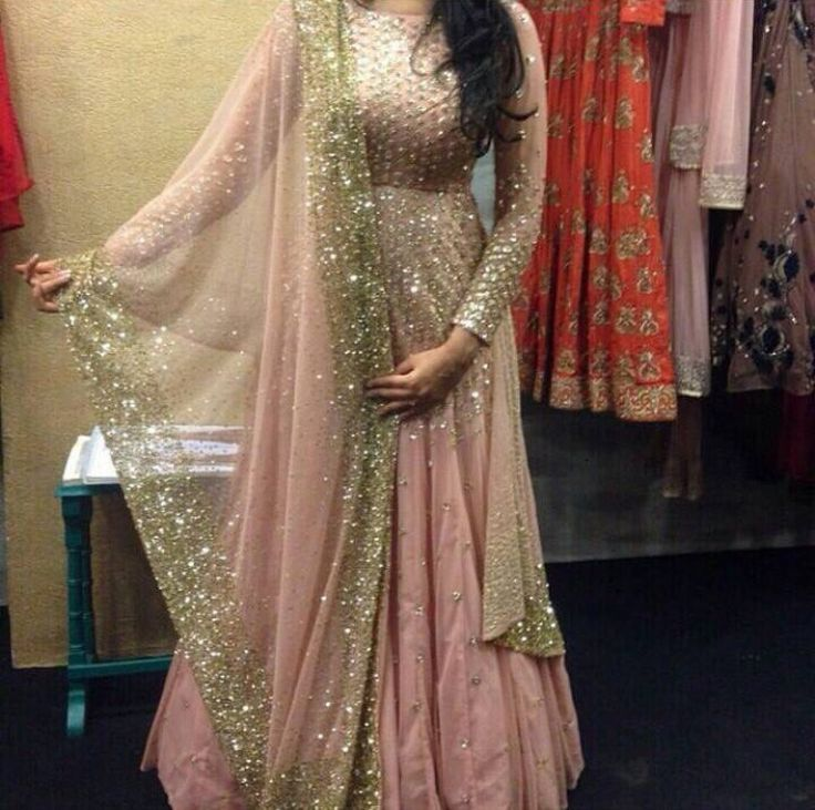 Gorgeous embroiderly very thoughtfully done on this romantic blush colored gown by Phulkari Couture.