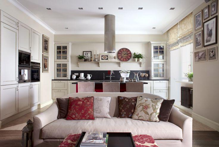 интерьер кухни гостинной в стиле прованс