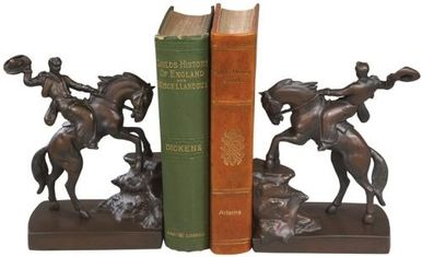 Bookends Bookend AMERICAN WEST Southwestern Cowboy on Bucking Horse Let R OK-812