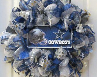 Blue, silver and white deco mesh wreath with Dallas Cowboys sign, Dallas Cowboys license plate, door wreath, sports decor, football wreath