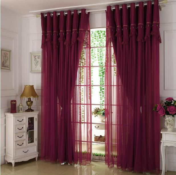 Wine Color Maroon Curtains Lace Sheer Blackout Maroon Curtains