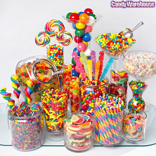 Rainbow Birthday Candy Buffet - simple jars, simple candy that can be bought anywhere. Wonka Runts, M&M's, Mike & Ikes, large gumballs, rock candy rods, gummi bears, (Twizzler Rainbow), candy fruit jell slices, cherry rainbow hard candy sticks, rock candy nuggets, Wonka mini chewie sweet tarts, Whirly lollipops, rainbow swirl lollipops