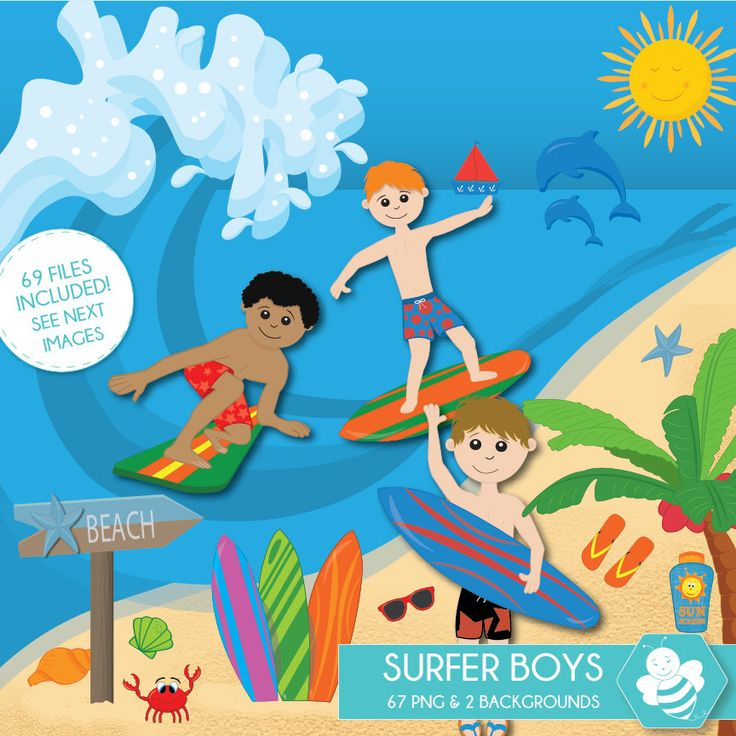 Surfer Boy Clipart, commercial use, beach clipart, surf digital clip art, digital images, CL0036 by Sweetdesignhive on Etsy