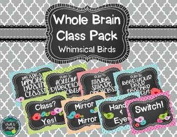 Whole Brain Teaching - Whimsical Birds on TpT by Chalk and Apples