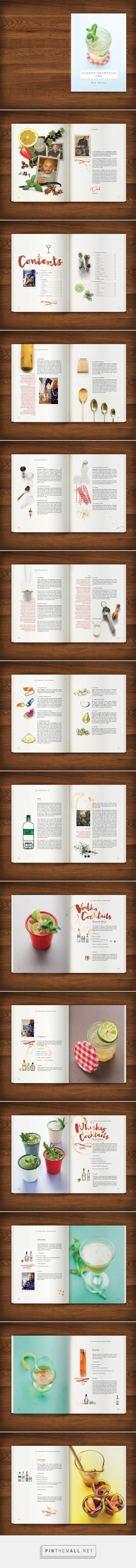 Designed by www.artistictype.co.uk - Cocktail Recipe Book design for Dre Masso. The brief was to design a recipe book for the home bartender that looked fun, relaxed and well used. All of the ingredients from brand neutral premium spirits to fruit garnishes were hand illustrated and whilst there was a strict grid used in the page layout design, each spread had its own visual identity. Services supplied: graphic design, recipe book design, page layouts, typography and illustration.