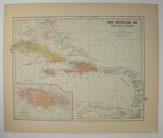 caribbean islands map west indies vintage map 1896 antique map of cuba jamaica map