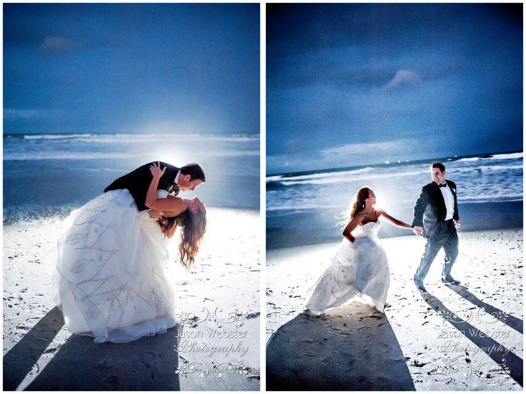 beach wedding, night beach wedding, trash the dress, strobe lighting, destination wedding, florida wedding photographer, www.websterweddings.com, www.jasonwebsterphotography.com