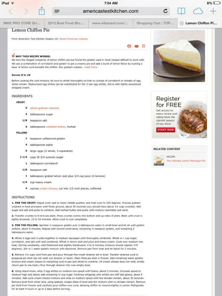 Lemon Chiffon Pie America S Test Kitchen