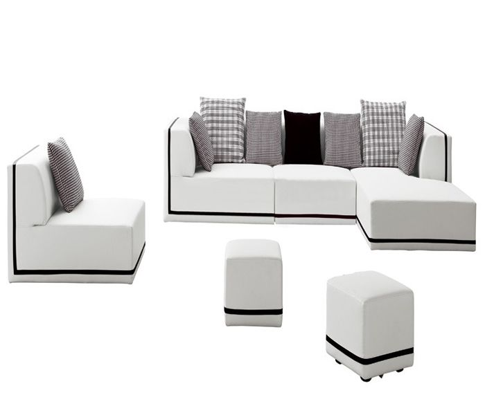 Lazy Boy Sofa Boxy Sectional Reclining Sofa and Ottoman Set
