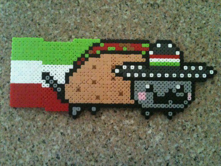 Mexican Nyan Cat aka Tacocat perler beads by Birdseednerd on deviantart