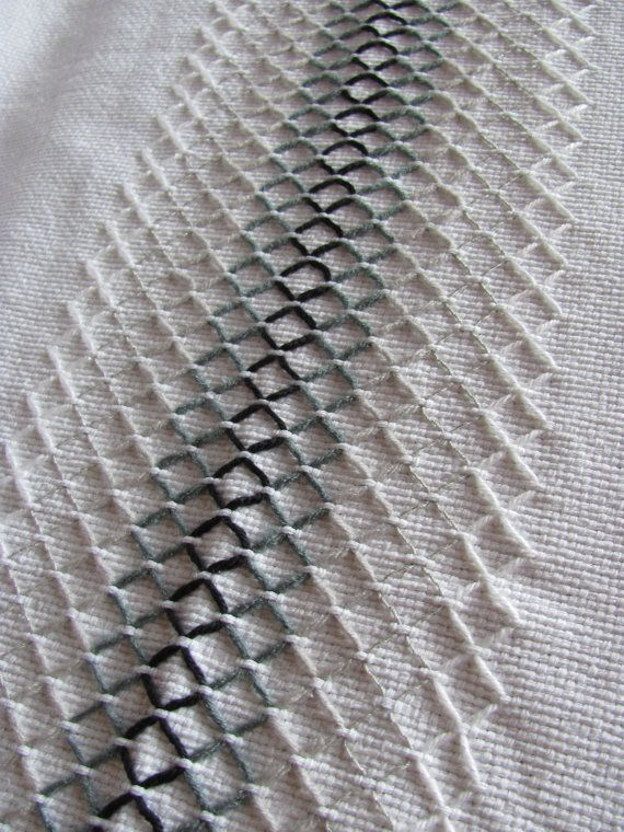 50 Waves of Gray is a unique Swedish Weave pattern created and made by myself on 100% white cotton monks cloth. I wanted to create a unique look that was both neutral and interesting. I used acrylic yarn in black, dark gray, light gray, sparkle silver, and sparkle white. All edges are secured by machine sewing. There is fringe at both short edges.  This blanket measures 2-1/2 yards long x 60 inches wide. It can be used for display and/or for cuddling up in.  Care: Machine wash cold, gentle…
