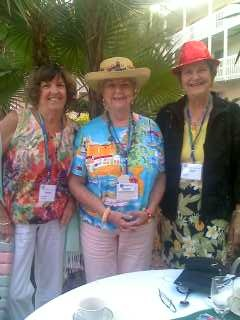 Delray Beach Sister Cities President Jeannie Heavilin; Florida SCI State Coordinator Pat Buchanan & Sarasota Sister Cites Event Director Gayle Maxey  at the conference poolside reception at the Helmsley Sandcastle Resort on Lido Key in Sarasota om May 2nd