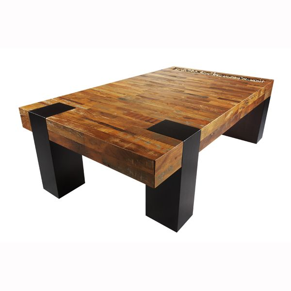 Delightful Coffee Tables: Square Brown Silver Modern Pattern Varnished Wooden  Restoration Reclaimed Wood Urban Metal Base